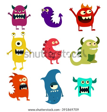 doodle monsters set colorful