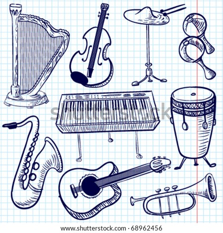 Doodle musical instruments set, vector