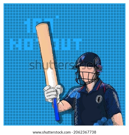 Doodle Namibia Cricket Batter Raising His Bat And 100 Not Out Font On Blue Grid Background.