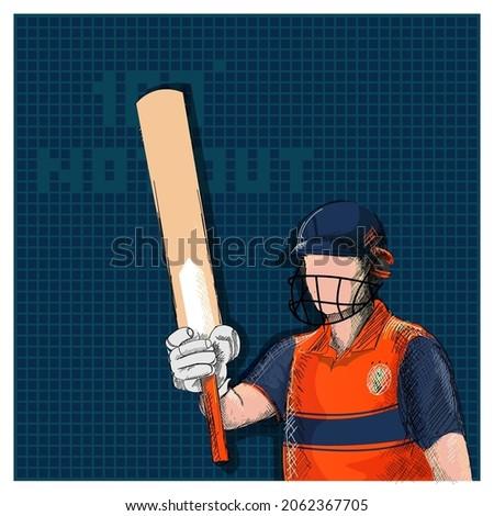 Doodle Netherlands Cricket Batter Raising His Bat And 100 Not Out Font On Blue Grid Background.