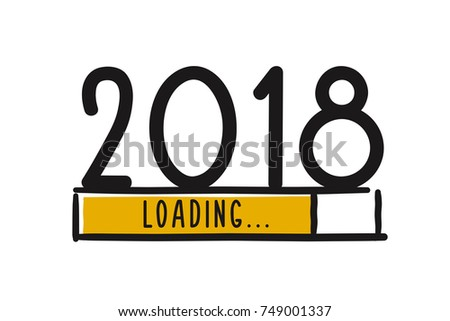 Doodle new year 2018 concept. Loading Bar showing progress almost reaching new year 2018. Vector illustration