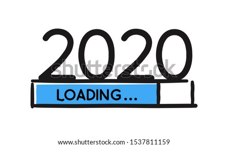 Doodle new year download screen. Blue Progress bar almost reaching new year's eve. Vector illustration with 2020 loading