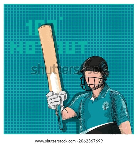 Doodle New Zealand Cricket Batter Player And 100 Not Out Font On Turquoise Grid Background.