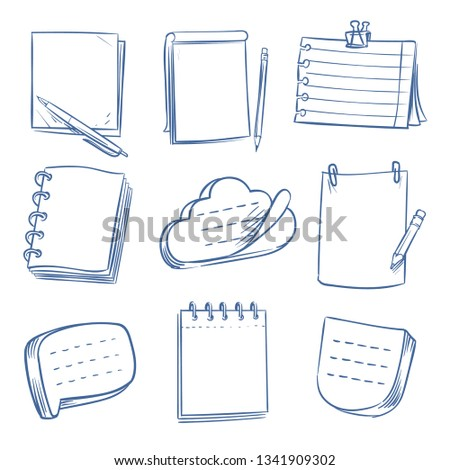 Doodle note. Sketch notebook, memo paper, various document. Hand drawn notepads vector set