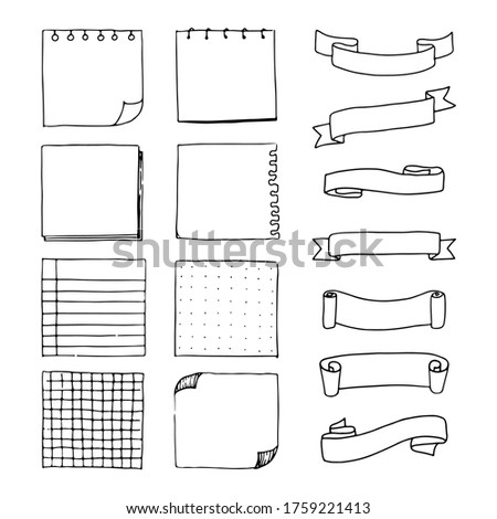 Doodle notepad and ribbons for your planner, journal or blog. To do List, Ribbons, Stationary. Hand drawn design. Cute Vector illustration design. Stock photo ©