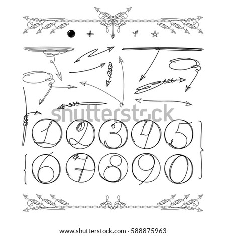 Doodle numbers in circle and other graphic elements for your infographic design. Hand drawn info objects isolated on white background. Vector illustration
