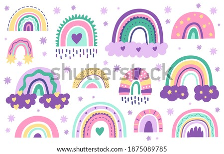 Doodle nursery rainbows. Hand drawn Scandinavian style rainbows for Baby shower, children's party.  cute pastel color rainbow vector symbol  set. Arc weather drawing, childish rainbow collection illustration