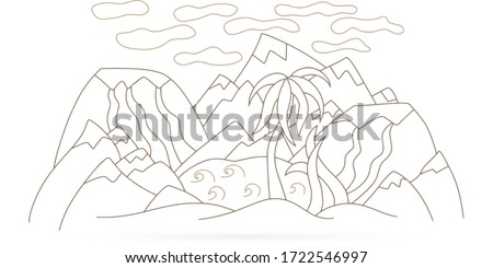 doodle oasis with lake  volcano