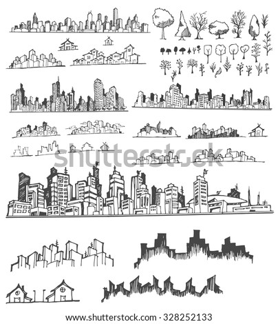 doodle of cityscape vector...
