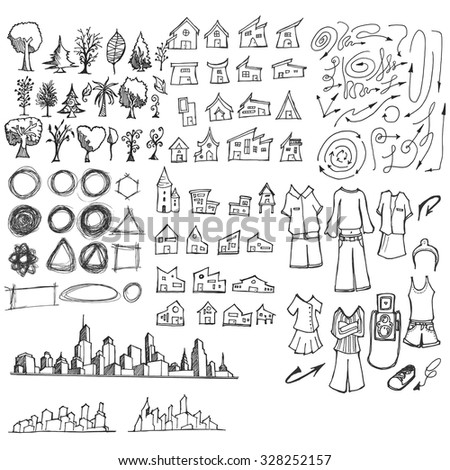 doodle of cityscape vector illustration drawing line #328252157
