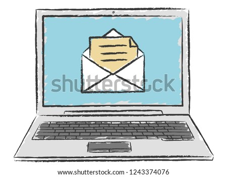 Doodle of laptop with email message