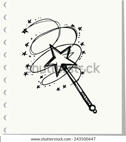 doodle of magic wand  vector
