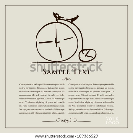 Doodle old bicycle with text for your design, advertisement