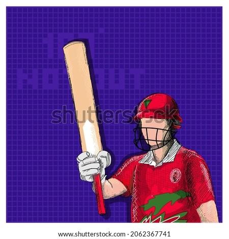 Doodle Oman Cricket Batter Player And 100 Not Out Font On Violet Grid Background.