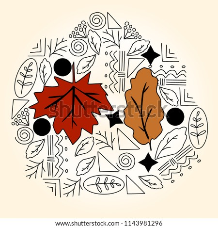 Doodle  on fall, autumn leaves, a vector illustration #1143981296