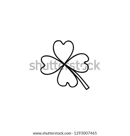 Doodle outline lucky four leaf clover isolated on white background.