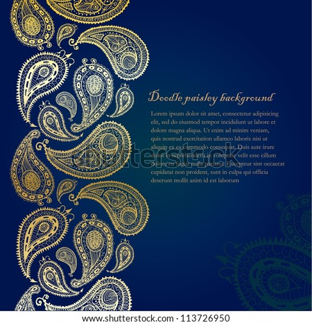 Doodle paisley seamless line background.