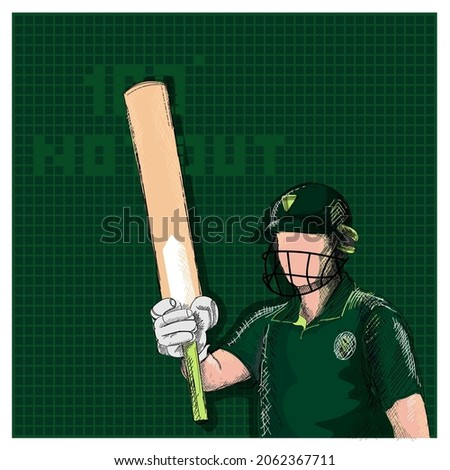 Doodle Pakistan Cricket Batter Player And 100 Not Out Font On Green Grid Background.