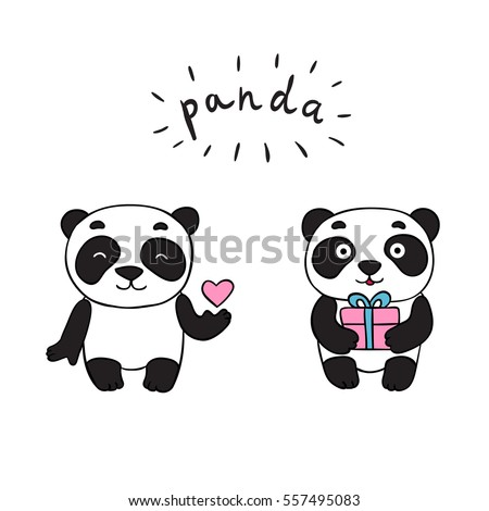 doodle panda bears  isolated