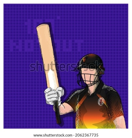 Doodle Papua New Guinea Cricket Batter Player And 100 Not Out Font On Violet Grid Background.