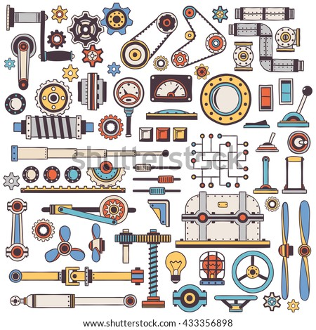 doodle parts of machinery and