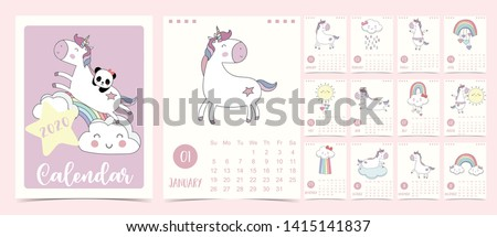 Doodle pastel calendar set 2020 with unicorn,rainbow,cloud for children.Can be used for printable graphic