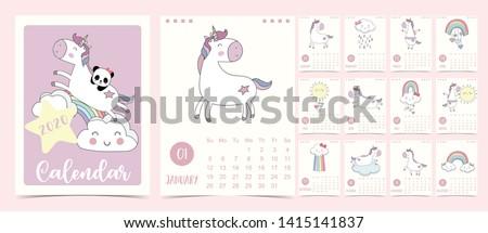 doodle pastel calendar set 2020