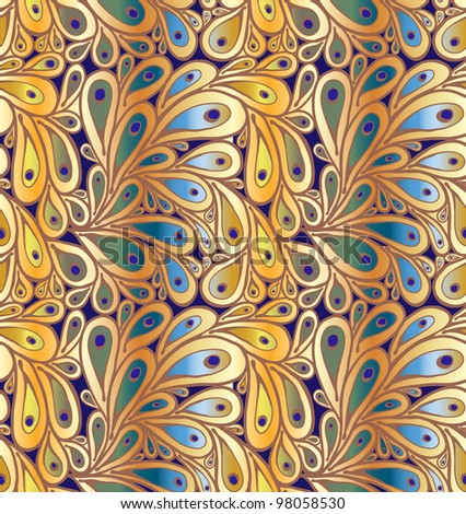 "Doodle peacock feathers seamless pattern in ""wild"" gradient colors"