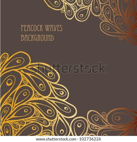 Doodle Peacock Golden Gradient