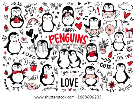 Doodle penguins, hand drawn set of funny animals. Vector Penguin character with balloon, camera, coffee, scarf, princess, unicorn in sketch style. Hipster stickers. Cute illustrations.