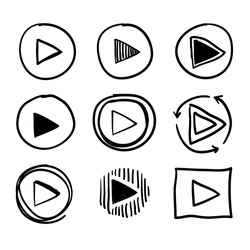 doodle play icon button illustration collection handdrawn cartoon style vector