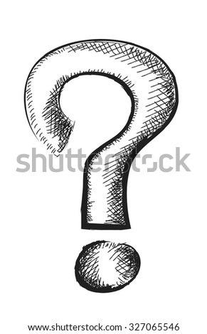 doodle question mark, vector illustration