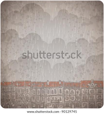 doodle rainy old city