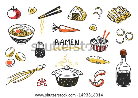 Doodle Ramen. Chinese hand drawn noodle soup with food sticks bowls and ingredients. Vector Asian food sketch set with egg noodles and other cooking products ストックフォト ©