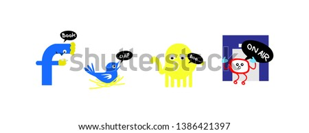 doodle reading book, blue bird, yellow ghost, step in, funny cartoon illustration for t-shirt
