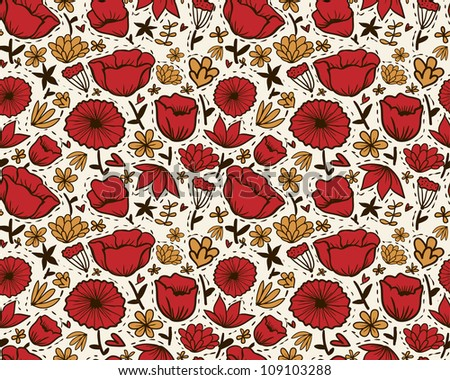 Doodle red flowers seamless pattern.