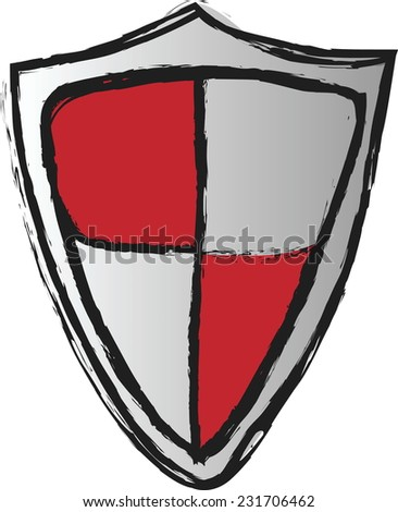 doodle red shield  vector