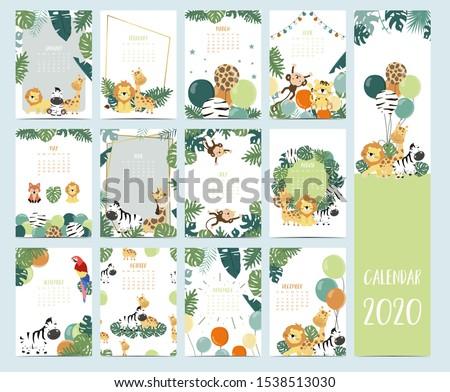 doodle safari animal calendar