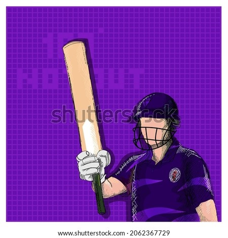 Doodle Scotland Cricket Batter Raising His Bat And 100 Not Out Font On Purple Grid Background.