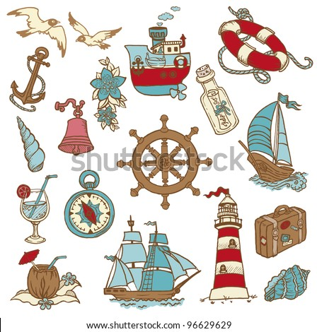 Doodle Sea elements - for your design, scrapbook in vector - stock vector