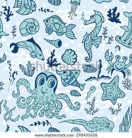 Doodle Sea life fish,animals seamless pattern,background.Funny cartoon doodle underwater world,ocean world. Baby hand drawing Vector. Summer travel, tropical backdrop,wallpaper, fabric ornament.