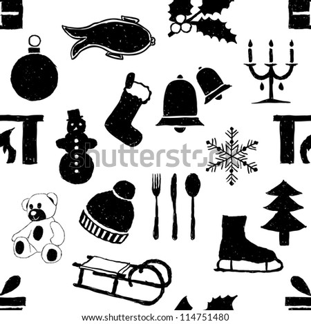 doodle seamless christmas pattern, black and white colors