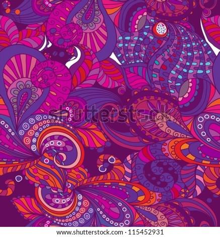 Doodle seamless color floral background, illustration for your design, vector