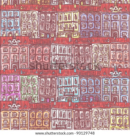 doodle seamless old city pattern