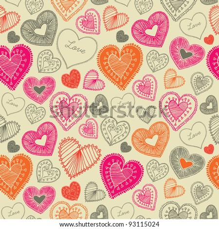 doodle seamless wallpaper with hand drawn Valentine hearts