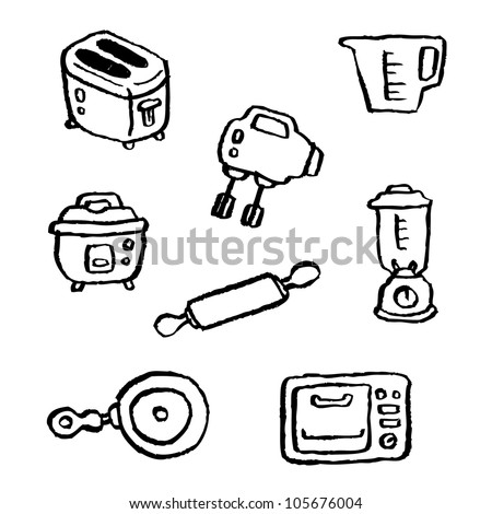 doodle series - kitchen appliances - stock vector
