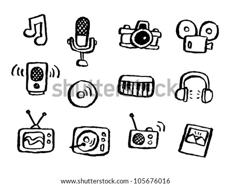 doodle series - media - stock vector