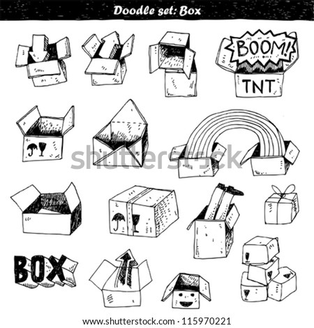 doodle set - box - stock vector