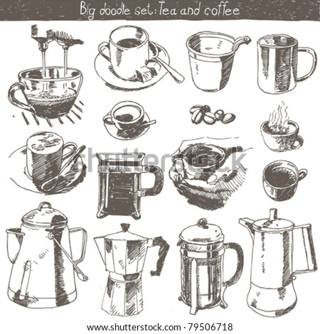 doodle set - coffee and tea design elements