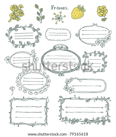 Doodle set: collection of  hand drawn cartoon frames and floral elements.